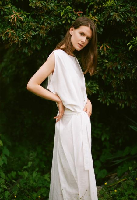 Sunja Link White Draped Dress