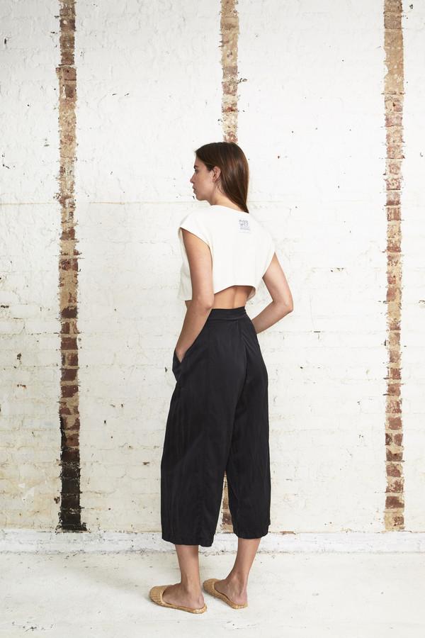 Off Season NYC Zinnia Pant Silk Satin Black