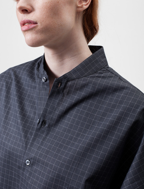Shawl Collar Shirt Grid