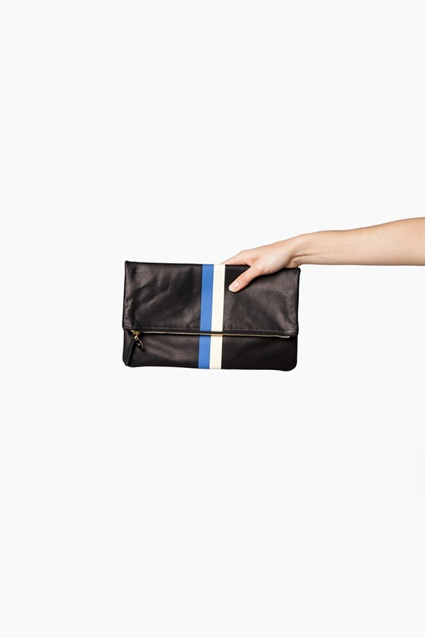 Clare V. Foldover Clutch | black stripe