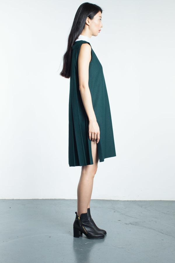 Steven Tai Pleated Back Side Slit Dress