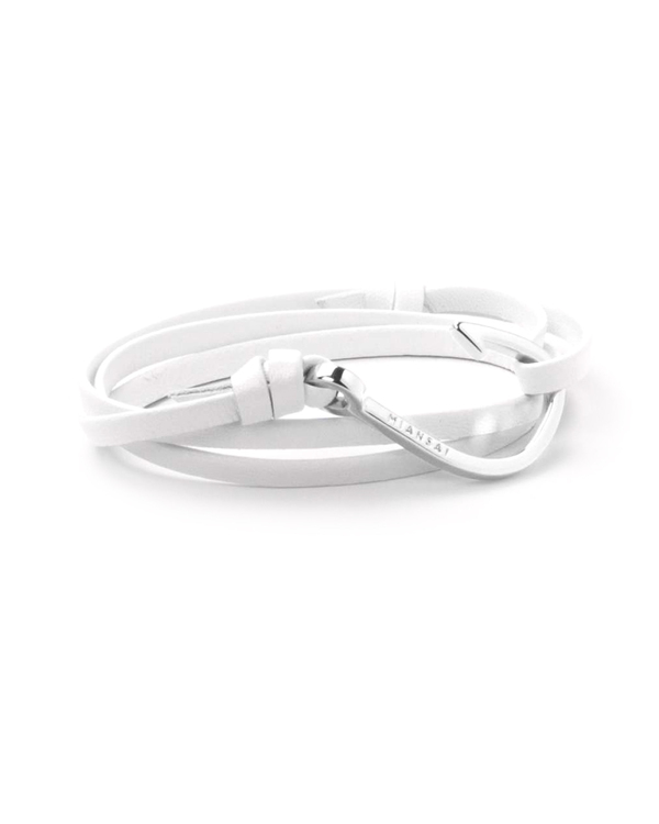 Miansai Silver Fish Hook And White Leather Wrap Bracelet