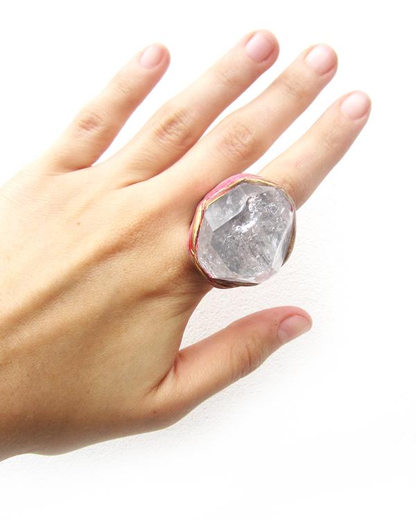 Adina Mills Pink Majestic Ring with Elestial Quartz