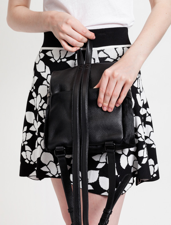 Kara Calf Hair Small Backpack Black
