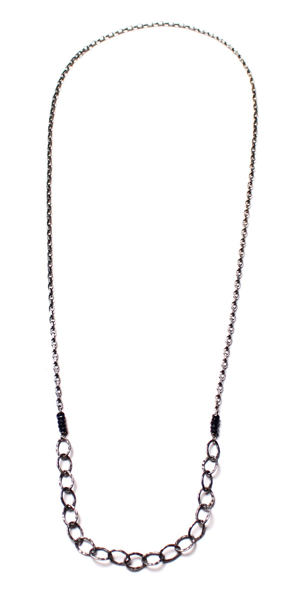 Sarah Dunn Black Sapphire and Oxidized Silver Chain Necklace