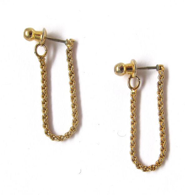 Gold chain drop earrings