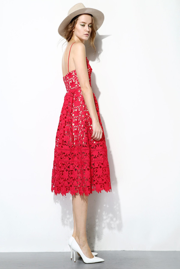 Few Moda Red Floral Lace Dress