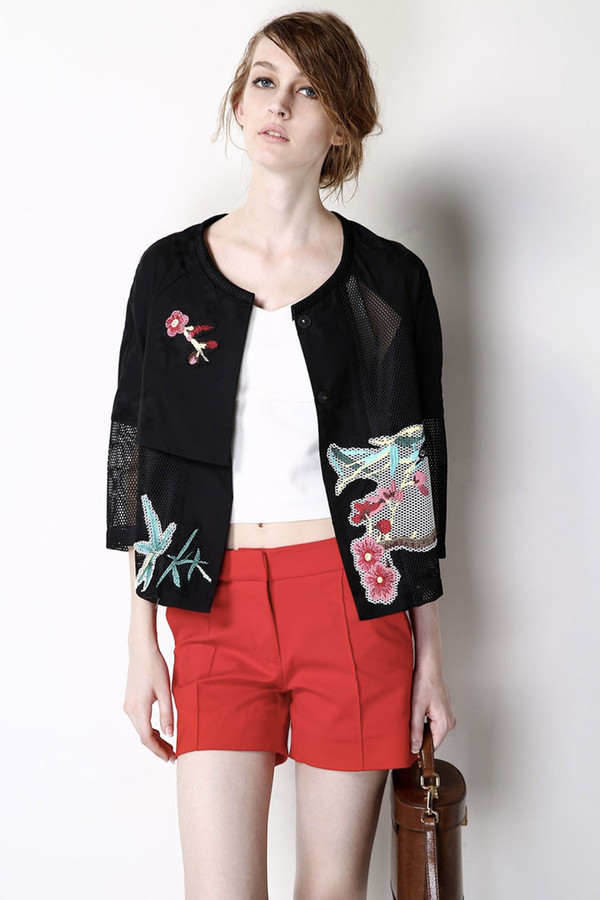 FEW MODA Handmade Embroidered Black Cropped Jacket