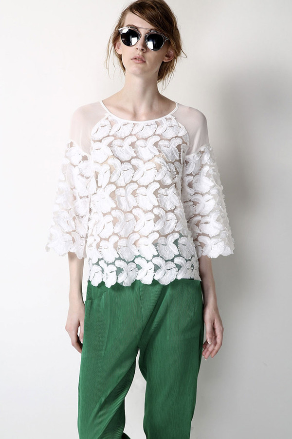Few Moda White Feather Lace Silk Top