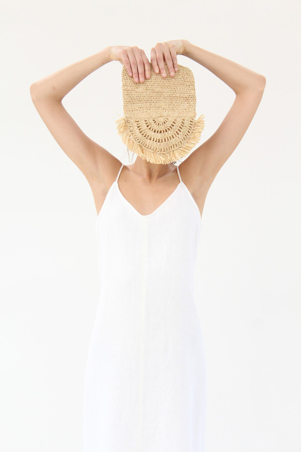 Apiece Apart Josefina Slip Dress White Linen