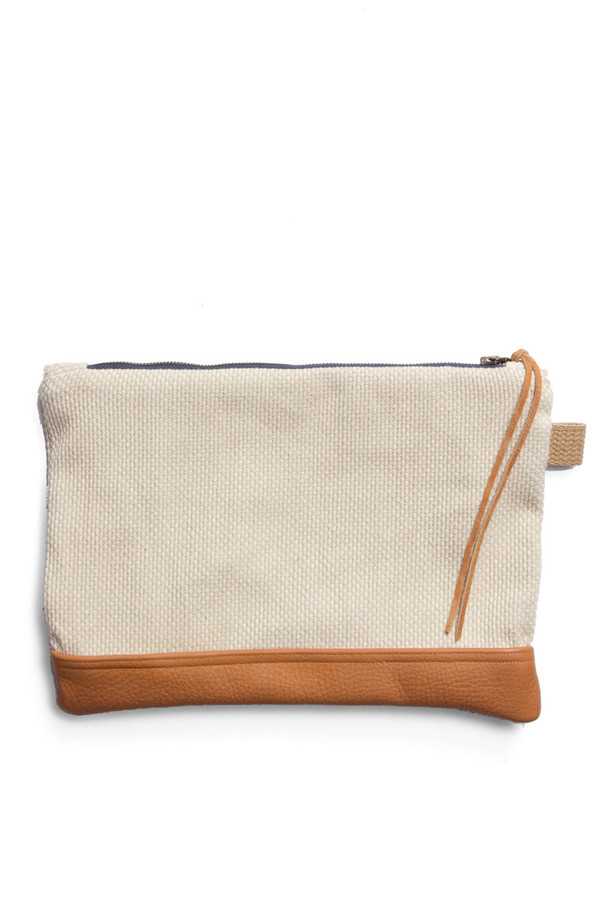 Kiriko Sashiko Leather Clutch Natural