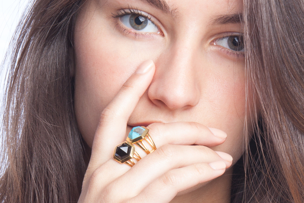 Shahla Karimi Hex Set Ring with Turquoise