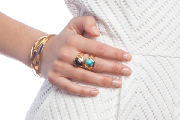 Shahla Karimi Hex Set Ring with Lapis