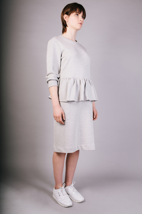 Peter Jensen Grey Marl Frill Dress