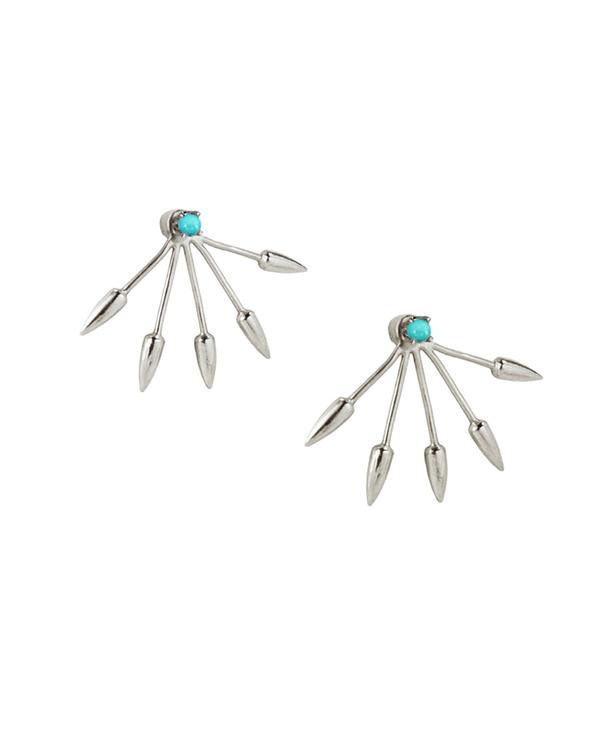 Pamela Love 5 Spike Ear Jacket in Sterling Silver & Turquoise