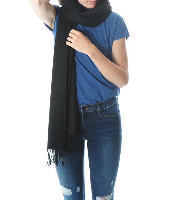 Won Hundred Black Caden Wool Scarf