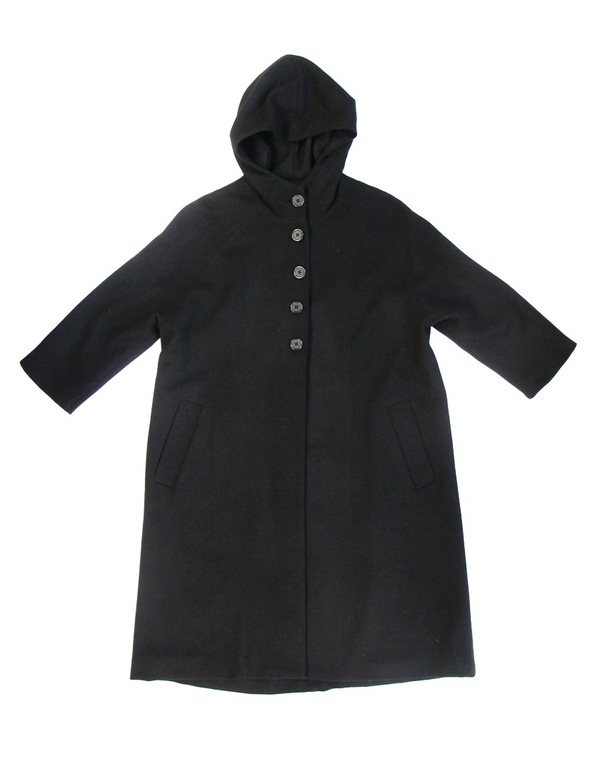 Ali Golden BLACK HOODED WOOL COAT
