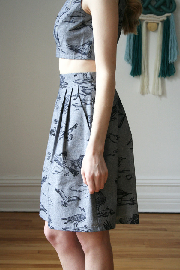 Birds of North America  Aracari Skirt Black (Toile Birds)