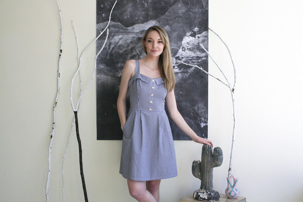 Birds of North America Sylph Dress (Navy Gingham)