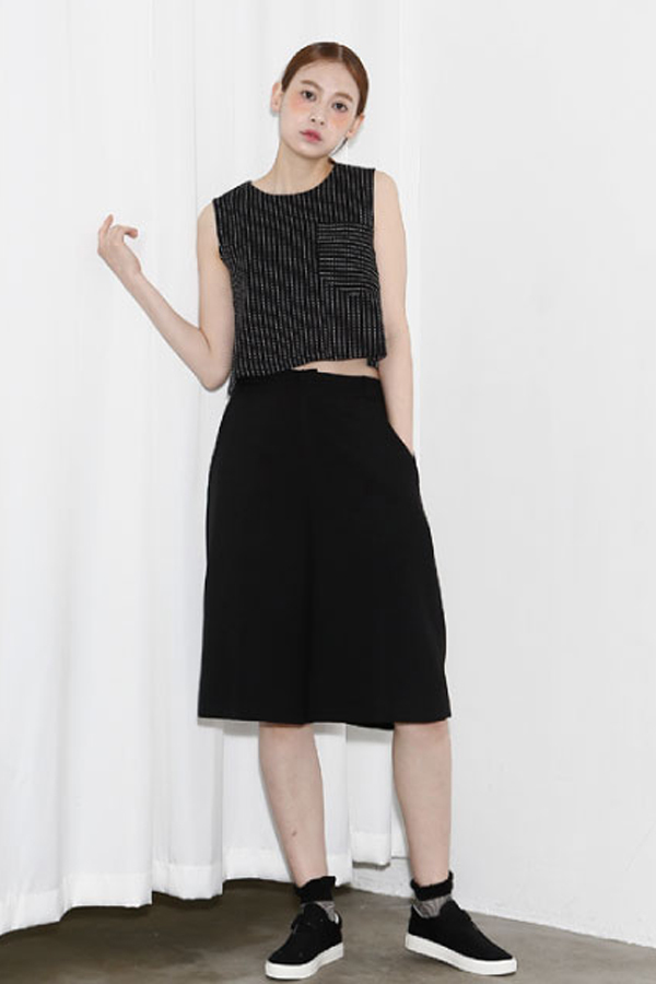 AMONG by ROCKET X LUNCH Striped Crop Top- Black