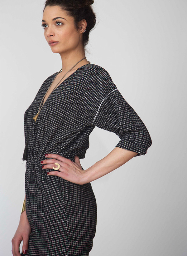 Seek Collective Rilke romper | black grid weave