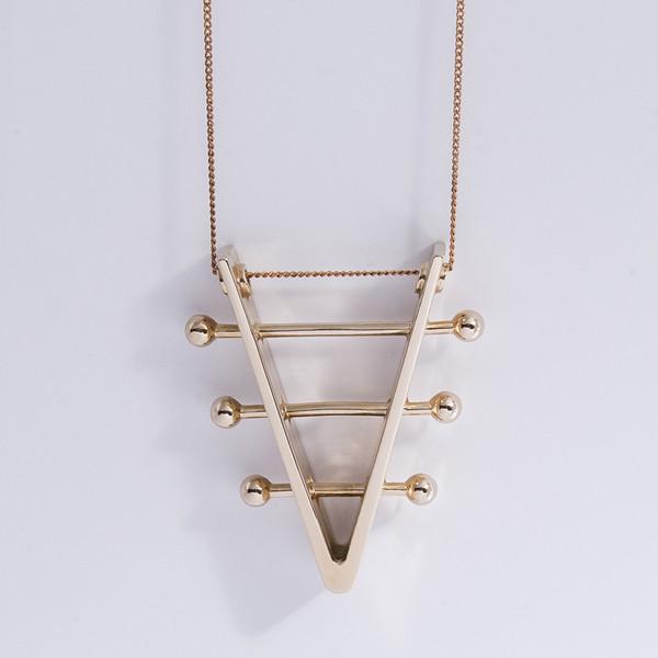 Metalepsis Projects Soundboard Necklace | high polish bronze