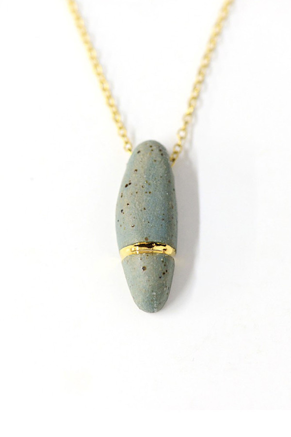 Porcelain and Stone Pebble Stone Pendant Necklace
