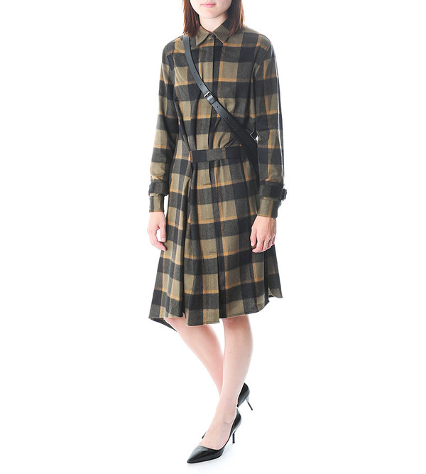 3.1 Phillip Lim Asymmetrical Plaid Dress w Shirt Collar