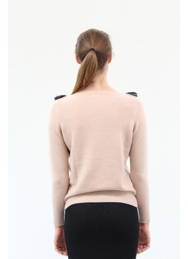 Ryan Roche Cashmere V Fringe Sweater