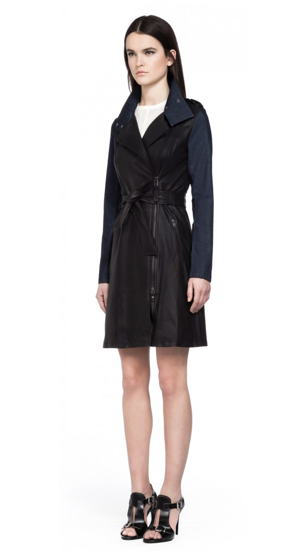Mackage Lena Black Leather Trench