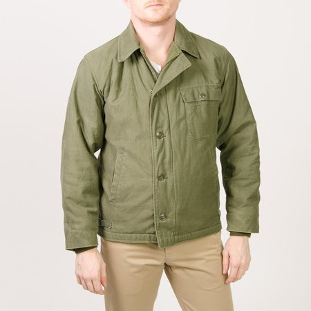 Unis New York Vintage Fleece Lined Military Jacket - Olive