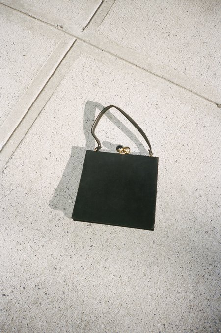Vincetta Vintage 1950's Black Suede Coblentz Handbag