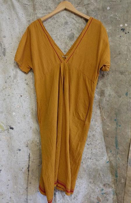 Injiri Turmeric Madras Cotton Dress