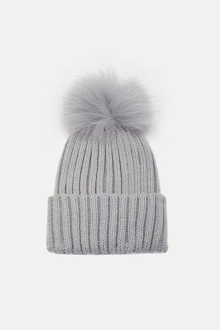 Yves Salomon Grey Fur Pom Pom Hat