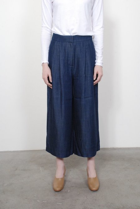 Tibi Indigo Drape Cropped Pleat Pants