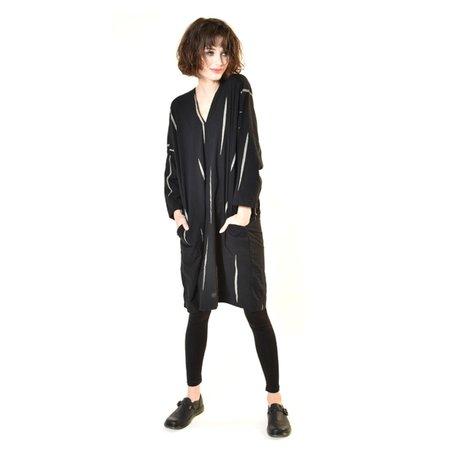 Uzi NYC Black Scratch Long Sleeve V Dress