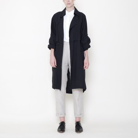7115 by Szeki Signature Linen Trench Duster - Black