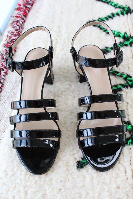 Maryam Nassir Zadeh MNZ Palma Low Heel Sandal Black Patent