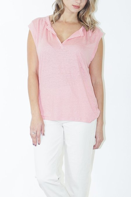 Humanoid Lance V-Neck Short Sleeve Top in Watermelon
