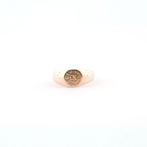 I Like It Here Club OK Signet Ring - Gold Plated Brass