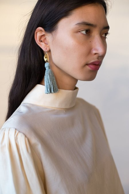 Erin Considine Medio Tassel Earrings in Light Indigo