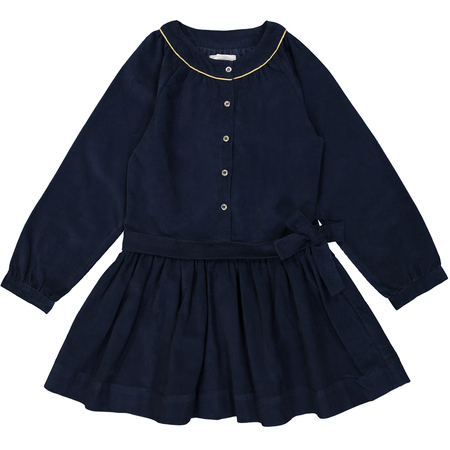 Kid's Petite Lucette Emilie Dress - Midnight Blue Corduroy