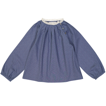 Kid's Petite Lucette Prunelle Top - Lake Blue Flowers
