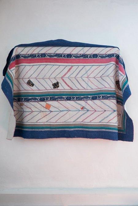 Karu Vintage Kantha Quilt with Blue Border