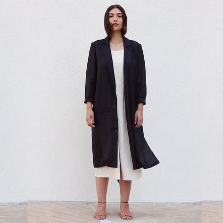 First Rite Belted Overcoat - Black