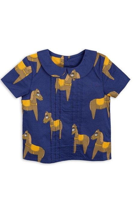 Kids Mini Rodini Woven Horse Print Pleated Blouse