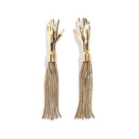 Lady Grey Hand Tassel Earrings - Gold