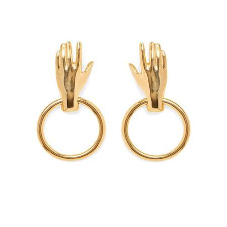 Lady Grey Hand Hoop Earrings Gold