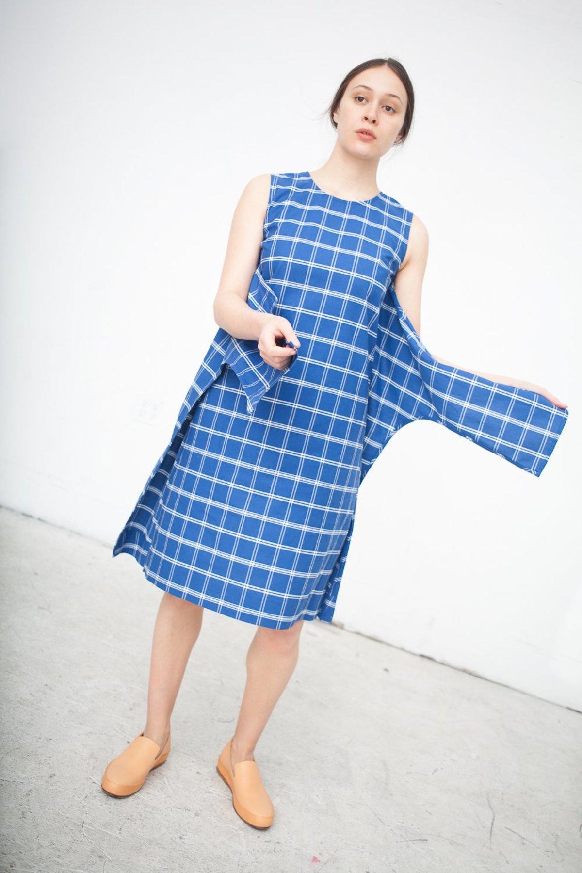 caron callahan ada wrap dress in blue plaid