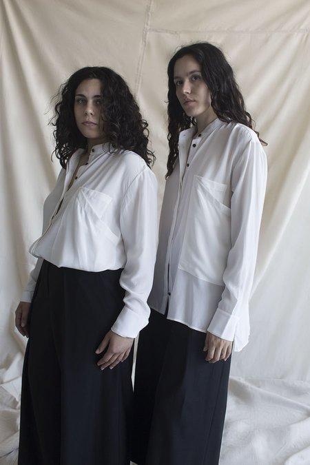 Vincetta Mandarin Collar Shirt - Bone